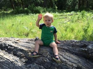 blond haired boy on log waving