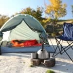 tent and gear set up for a comfortable camping trip