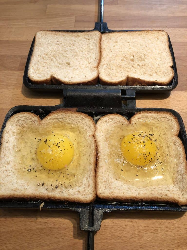 eggs with salt and pepper in indentations