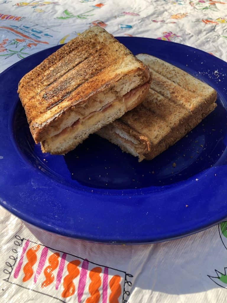 pie iron breakfast sandwiches cooked and ready to eat