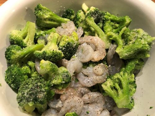 shrimp and broccoli in a bowl