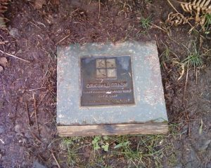 plaque showing location of first geocache