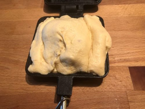 dough pocket stuffed with omelet ingredients