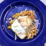 egg in a nest on a blue plate