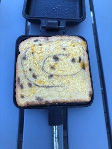 cinnamon bread sandwich in pie iron ready to cook